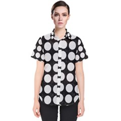 Circles1 Black Marble & White Linen (r) Women s Short Sleeve Shirt