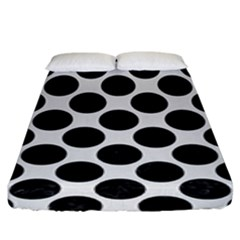 Circles2 Black Marble & White Linen Fitted Sheet (king Size)
