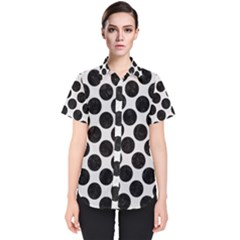 Circles2 Black Marble & White Linen Women s Short Sleeve Shirt