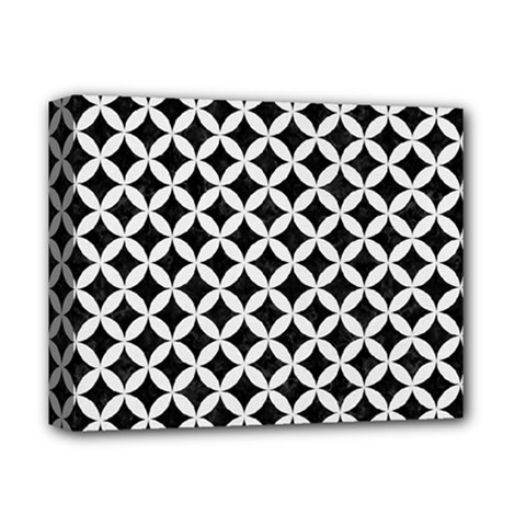Circles3 Black Marble & White Linen (r) Deluxe Canvas 14  X 11  by trendistuff