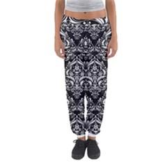 Damask1 Black Marble & White Linen (r) Women s Jogger Sweatpants by trendistuff