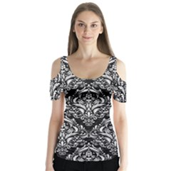Damask1 Black Marble & White Linen (r) Butterfly Sleeve Cutout Tee