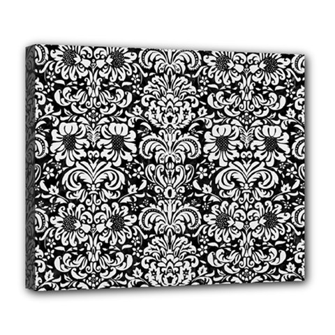 Damask2 Black Marble & White Linen (r) Deluxe Canvas 24  X 20   by trendistuff
