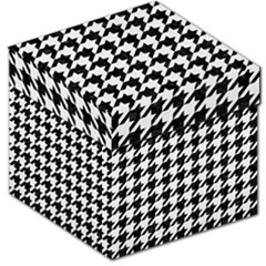 Houndstooth1 Black Marble & White Linen Storage Stool 12   by trendistuff