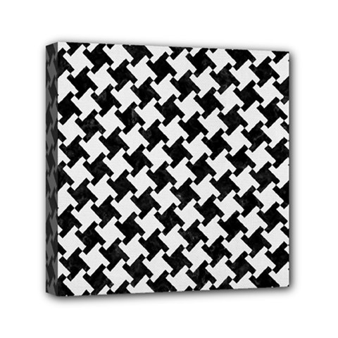 Houndstooth2 Black Marble & White Linen Mini Canvas 6  X 6  by trendistuff