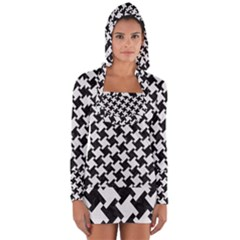 Houndstooth2 Black Marble & White Linen Long Sleeve Hooded T Shirt