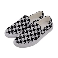 Houndstooth2 Black Marble & White Linen Women s Canvas Slip Ons by trendistuff