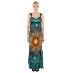 Beautiful Tangerine Orange And Teal Lotus Fractals Maxi Thigh Split Dress by jayaprime