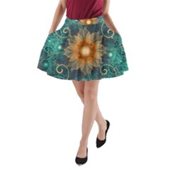 Beautiful Tangerine Orange And Teal Lotus Fractals A Line Pocket Skirt by beautifulfractals