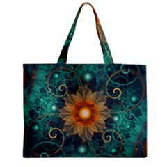 Beautiful Tangerine Orange And Teal Lotus Fractals Zipper Medium Tote Bag by jayaprime