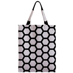 Hexagon2 Black Marble & White Linen Zipper Classic Tote Bag