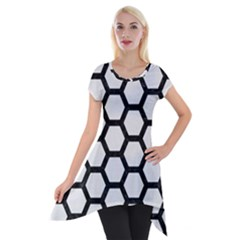 Hexagon2 Black Marble & White Linen Short Sleeve Side Drop Tunic