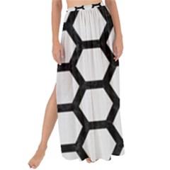 Hexagon2 Black Marble & White Linen Maxi Chiffon Tie Up Sarong by trendistuff