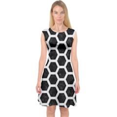 Hexagon2 Black Marble & White Linen (r) Capsleeve Midi Dress