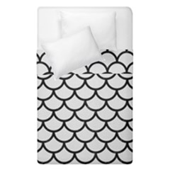 Scales1 Black Marble & White Linen Duvet Cover Double Side (single Size) by trendistuff