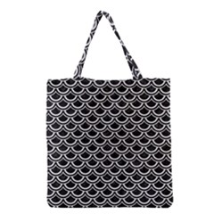 Scales2 Black Marble & White Linen (r) Grocery Tote Bag