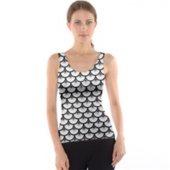 Scales3 Black Marble & White Linen Tank Top