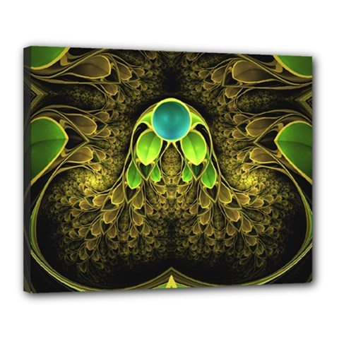 Beautiful Gold And Green Fractal Peacock Feathers Canvas 20  X 16  by jayaprime