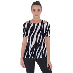 Skin3 Black Marble & White Linen (r) Short Sleeve Top
