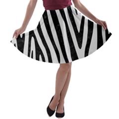 Skin4 Black Marble & White Linen (r) A Line Skater Skirt by trendistuff