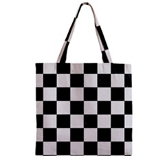 Square1 Black Marble & White Linen Zipper Grocery Tote Bag by trendistuff