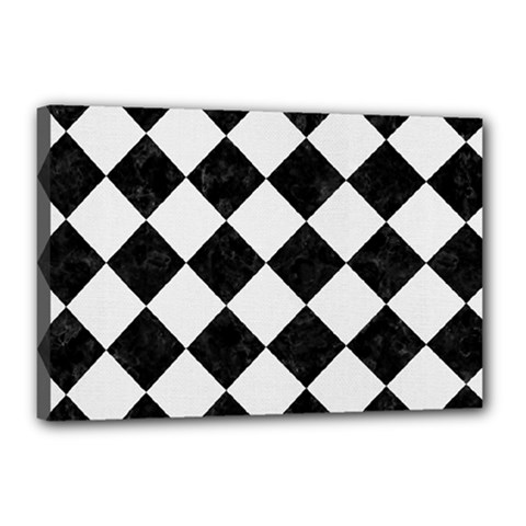 Square2 Black Marble & White Linen Canvas 18  X 12  by trendistuff