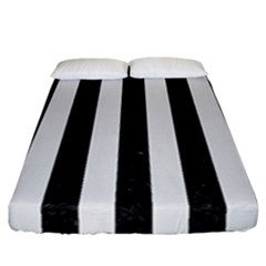 Stripes1 Black Marble & White Linen Fitted Sheet (california King Size)