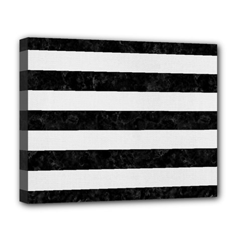 Stripes2 Black Marble & White Linen Deluxe Canvas 20  X 16   by trendistuff