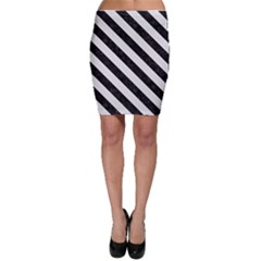 Stripes3 Black Marble & White Linen Bodycon Skirt