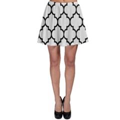 Tile1 Black Marble & White Linen Skater Skirt