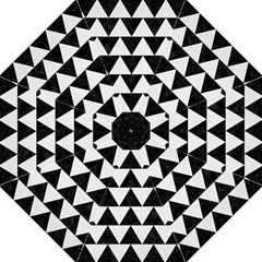 Triangle2 Black Marble & White Linen Straight Umbrellas by trendistuff