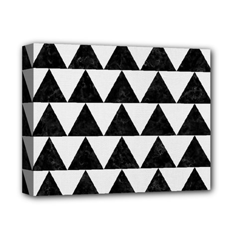 Triangle2 Black Marble & White Linen Deluxe Canvas 14  X 11  by trendistuff