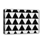 TRIANGLE2 BLACK MARBLE & WHITE LINEN Deluxe Canvas 18  x 12