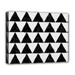 TRIANGLE2 BLACK MARBLE & WHITE LINEN Deluxe Canvas 20  x 16