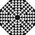 TRIANGLE2 BLACK MARBLE & WHITE LINEN Hook Handle Umbrellas (Medium)