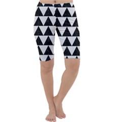 TRIANGLE2 BLACK MARBLE & WHITE LINEN Cropped Leggings