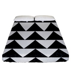 TRIANGLE2 BLACK MARBLE & WHITE LINEN Fitted Sheet (King Size)
