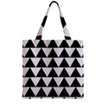 TRIANGLE2 BLACK MARBLE & WHITE LINEN Zipper Grocery Tote Bag