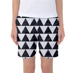 TRIANGLE2 BLACK MARBLE & WHITE LINEN Women s Basketball Shorts