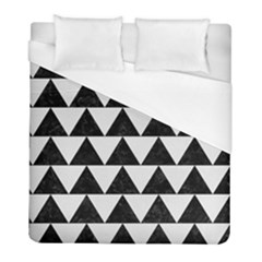 Triangle2 Black Marble & White Linen Duvet Cover (full/ Double Size) by trendistuff