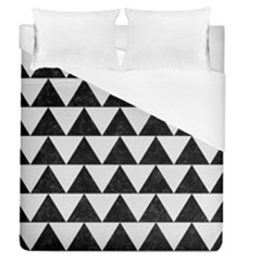 Triangle2 Black Marble & White Linen Duvet Cover (queen Size) by trendistuff
