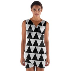 TRIANGLE2 BLACK MARBLE & WHITE LINEN Wrap Front Bodycon Dress
