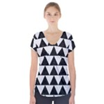 TRIANGLE2 BLACK MARBLE & WHITE LINEN Short Sleeve Front Detail Top