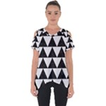 TRIANGLE2 BLACK MARBLE & WHITE LINEN Cut Out Side Drop Tee