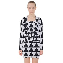 TRIANGLE2 BLACK MARBLE & WHITE LINEN V-neck Bodycon Long Sleeve Dress