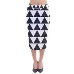 TRIANGLE2 BLACK MARBLE & WHITE LINEN Velvet Midi Pencil Skirt