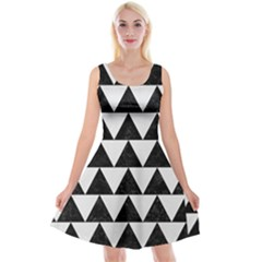 TRIANGLE2 BLACK MARBLE & WHITE LINEN Reversible Velvet Sleeveless Dress