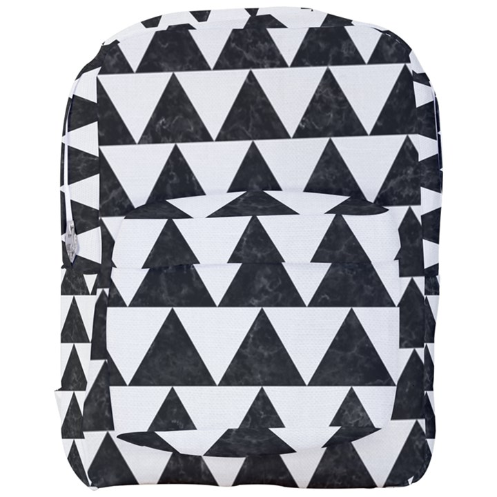 TRIANGLE2 BLACK MARBLE & WHITE LINEN Full Print Backpack