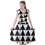 TRIANGLE2 BLACK MARBLE & WHITE LINEN Cap Sleeve Wrap Front Dress