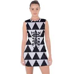 TRIANGLE2 BLACK MARBLE & WHITE LINEN Lace Up Front Bodycon Dress